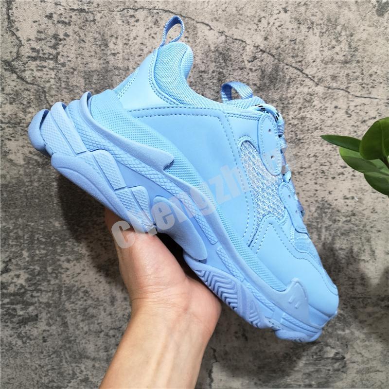 Mode Hommes Femmes Chaussures Casual Papa Paris Triple S 17fw Sneakers pour Chaussures Spring Blue Orange EUR 36-45