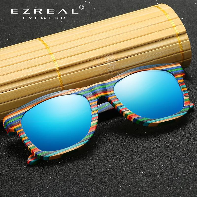 Sunglasses en bois polarisées Ezreal Hommes Bamboo Sun Lunettes Femmes De Designer Original Verres de bois Oculos de Sol Masculino