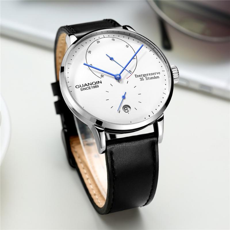 Saatı Guanqin Erkek Saatler Üst Otomatik Tarih Erkekler Rahat Moda Saat Su Geçirmez Hakiki Deri Mekanik Bilek İzle