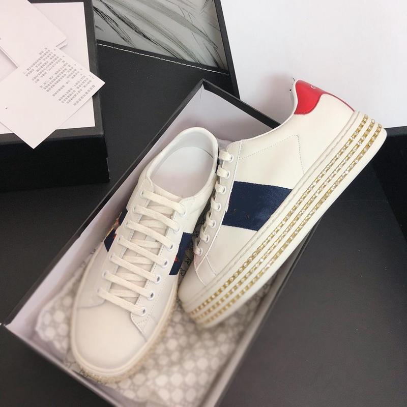 2021 Tasarımcı Sneakers Moda Lüks Kadınlar Yüksek Platformu Kristal Alt Koşu Ayakkabıları Ile Yüksek Platformu Dantel Ace Deri 35-40