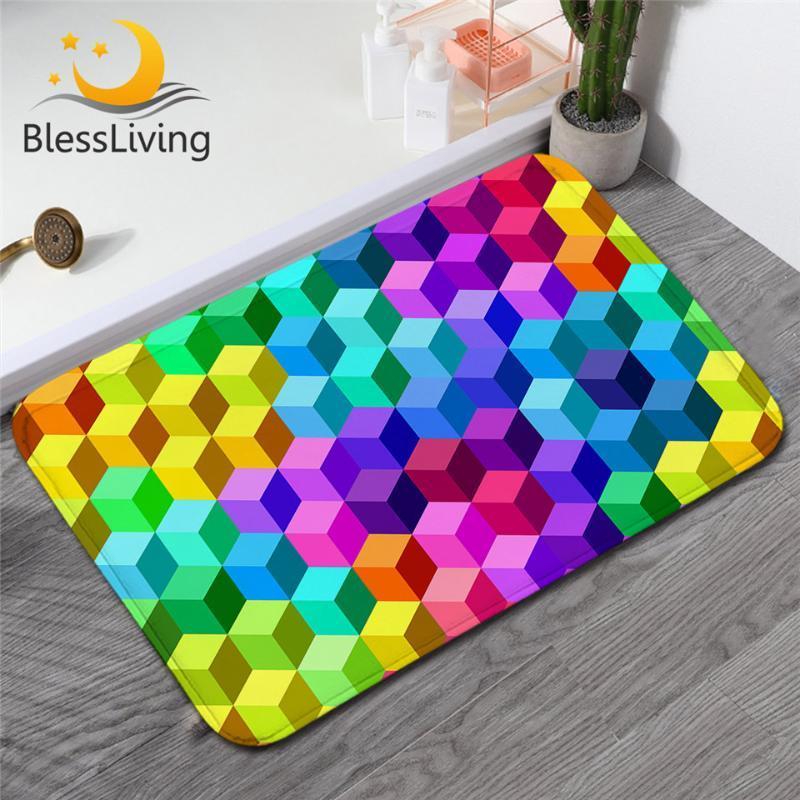 Carpets BlessLiving Geometric Carpet Rainbow Colorful Non-slip Soft Rug Girls Floor Mat Stereoscopic Checkered Doormat For Bedroom 50x80