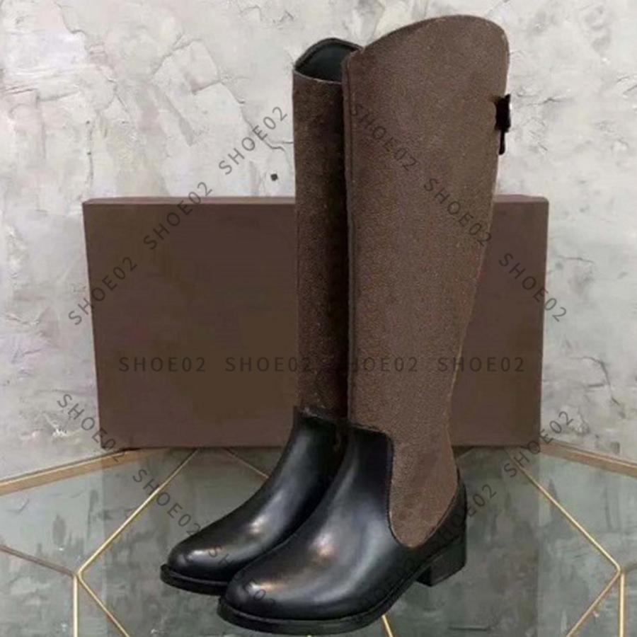 Женщины высококачественные дизайнерские ботинки колена сапоги настоящие кожаные туфли мода обуви зимняя осень заклепки с коробкой ЕС: 35-41 по Shoe02 01