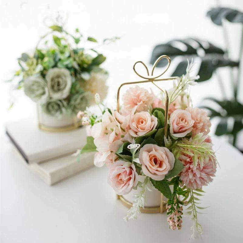 European Ceramic Vase Office Coffee Desktop Artificial Flower Pot Home Furnishing Decoration Crafts Livingroom Table home decor