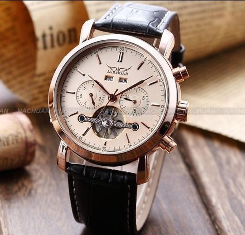 2021新しいジャラガルブランドゴールド多機能自動機器腕時計レザーストラップ腕時計男性