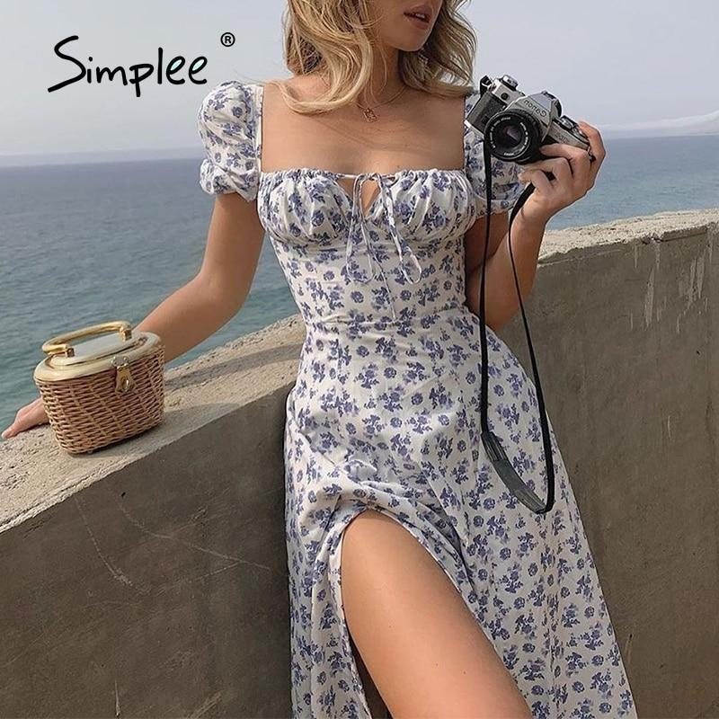 Simplee Elegante Boho Blumendruck Langes Kleid Französisch Romantischer Schlitz Lace Up Urlaub Strand Casual Sommer Hohe Taille Kleider