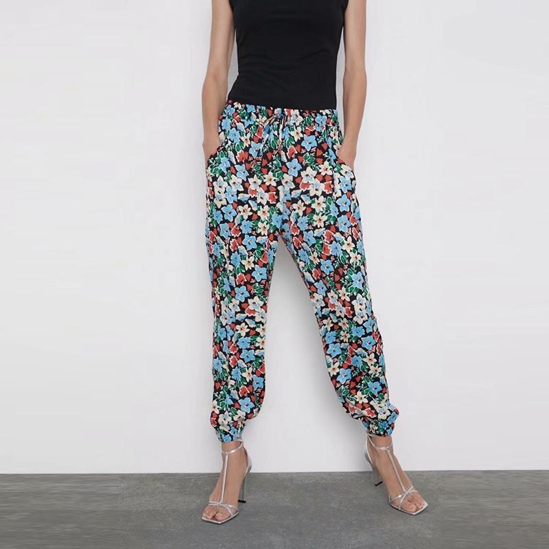 Casual Floral Harem Hosen Hohe Taille Elastische Slim Hose Sommer Frühling Vintage Print XZ2568 210603