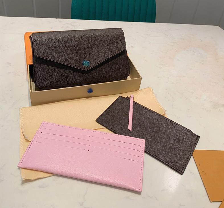 Top 3pcs set Women Shoulder Bags Favorite Multi Pochette Accessories Brown Flower Messenger Chain Strap Cross Body Ladies Flap Purse Clutch Totes With Box Dust bag