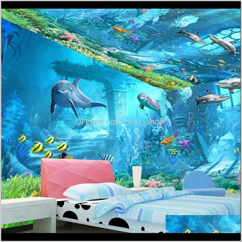Duvar Kağıtları Sualtı Dünya Duvar 3D Duvar Kağıdı Teion Çocuk Çocuk Odası Yatak Odası Okyanus Karikatür Arka Plan Duvar Sticker Nonwoven Kumaş 2 T2uyz