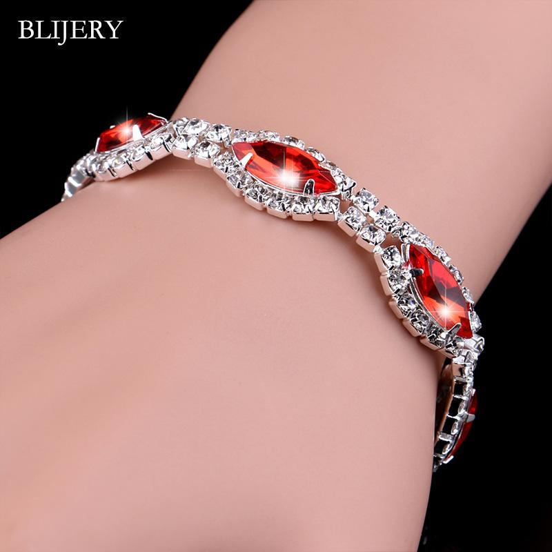 Link, Chain BLIJERY Marquis Shape Bracelets & Bangles For Women Red Rhinestone Crystal Bridal Party Wedding Jewelry Birthday Gift