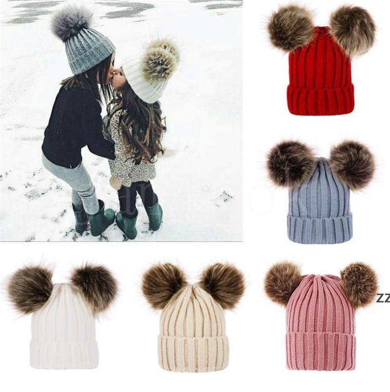 Дети Детские вязаные шапки зима вязаные сплошной крючком шляпа теплые мягкие POM POM шапочки двойные парикмахерские шляпы на открытом воздухе на открытом воздухе.
