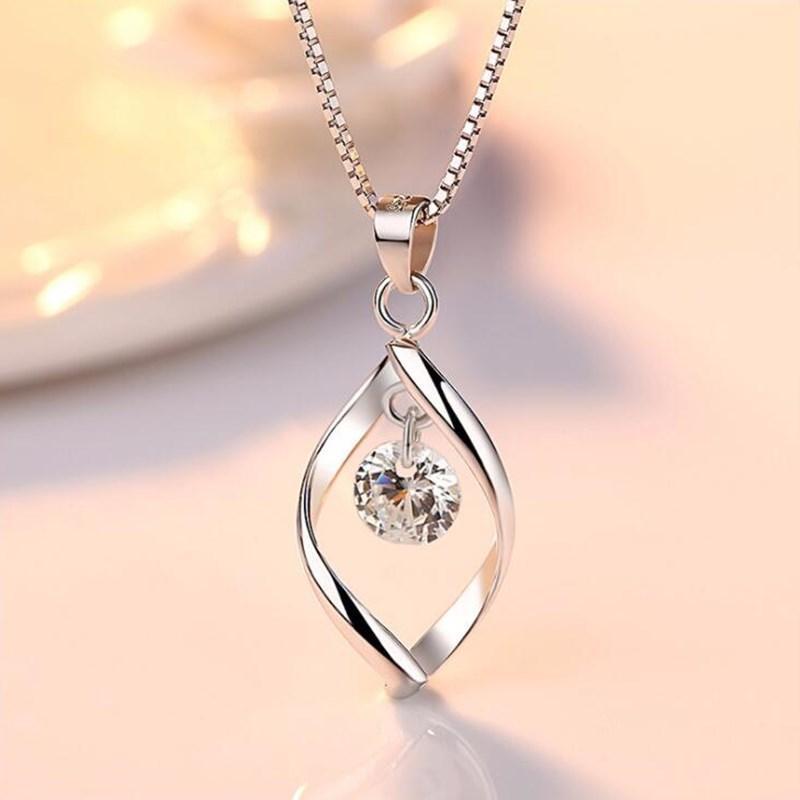 Silber Farbe Frauen Modeschmuck Hohe Qualität Kristall Zirkon Geometrische Anhänger Halskette Hochzeitsfeier Geschenk Collier Femme Chokers