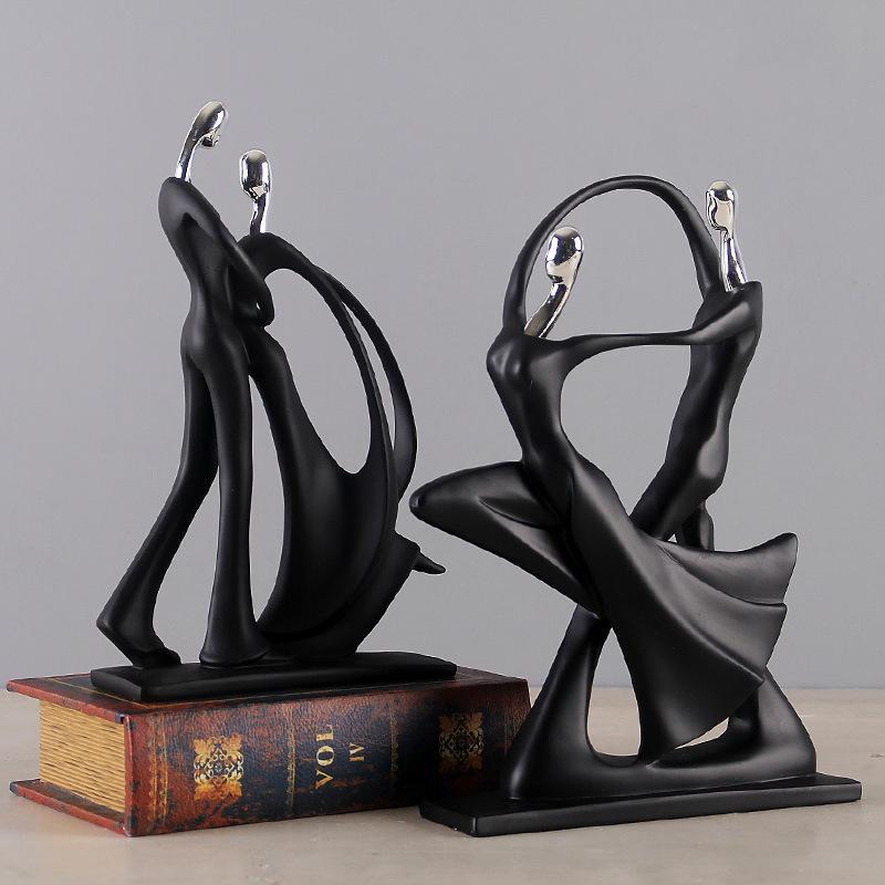 الحديثة مجردة الأسود النحت النحت تمثال مجوهرات ديكور المنزل اكسسوارات هدية هندسة الراتنج زوجين 210414