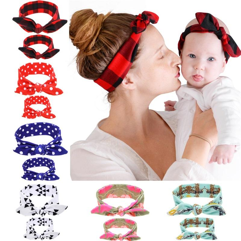 2pc / Set Madre Baby Turban Mom e Me Abbinamento Fascia Mamma Figlia Coniglio Orecchie Ambra Fascia Floreale Stampa Accessori per capelli 953 x2