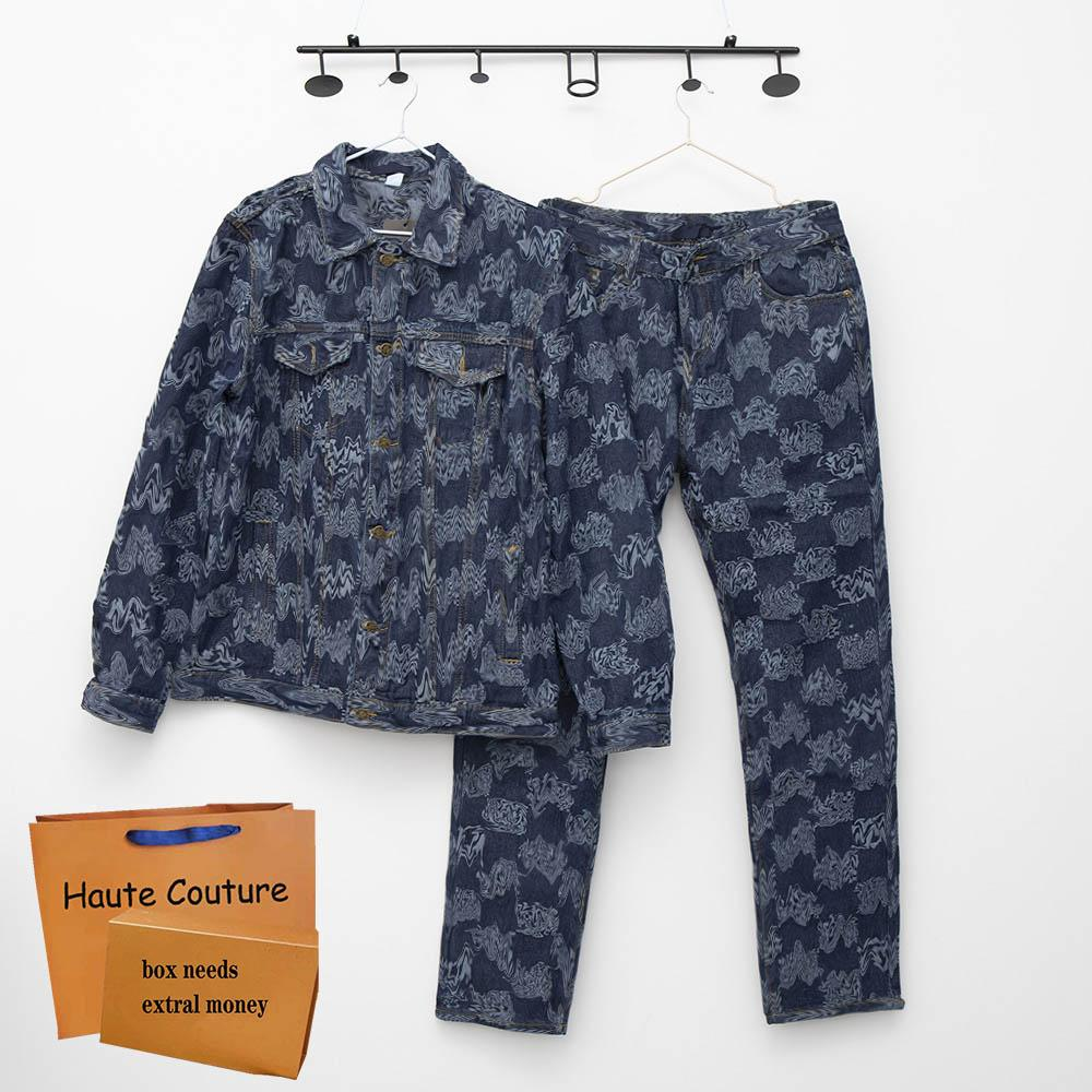2021 chándales para hombre Chaqueta de impresión a cuadros de moda + Jeans 2 PEPIC Trajes Frescos Hip Hop Mujeres Jeanswears High Calidad Zipper Monos Jeanswear