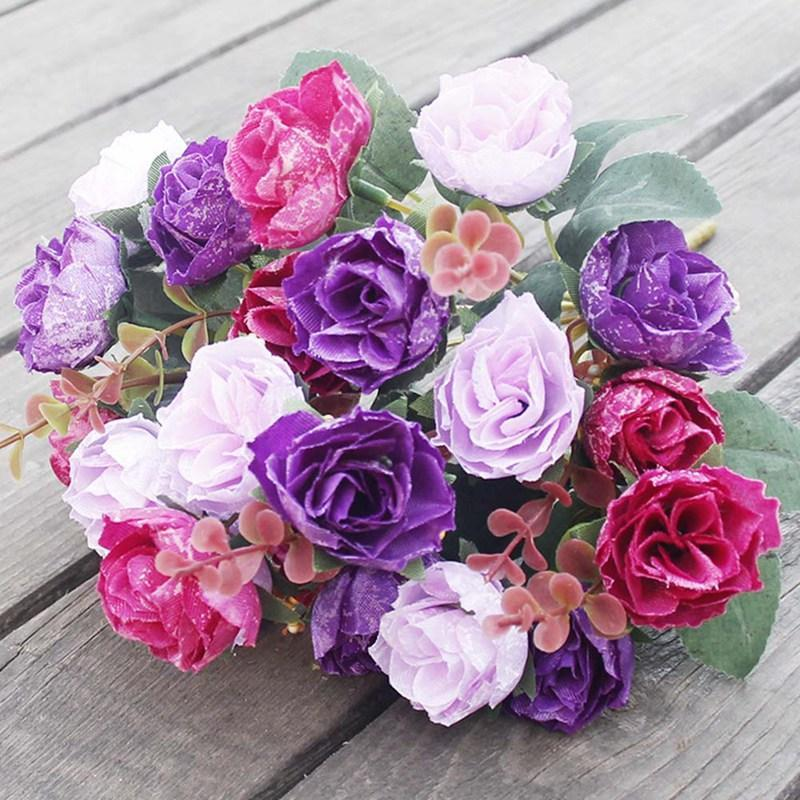 رؤساء أنيقة جميلة الأوروبية الاصطناعي الاصطناعي محاكاة الزهور الحرير باقة الرئيسية ديسمبر حزب الزفاف صائق الزخرفية أكاليل