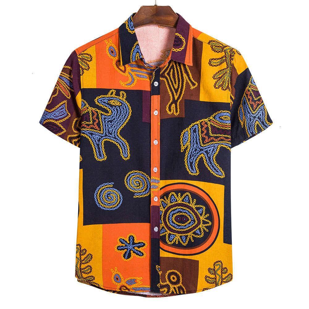 Camicia da uomo Estate European National National Style Casual Manica Fiore 4WV1