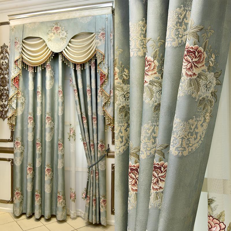 Vorhang drapiert europäische hochpräzise Relief-Jacquard-Schattiervorhänge für das Wohnzimmer mit Esszimmer.