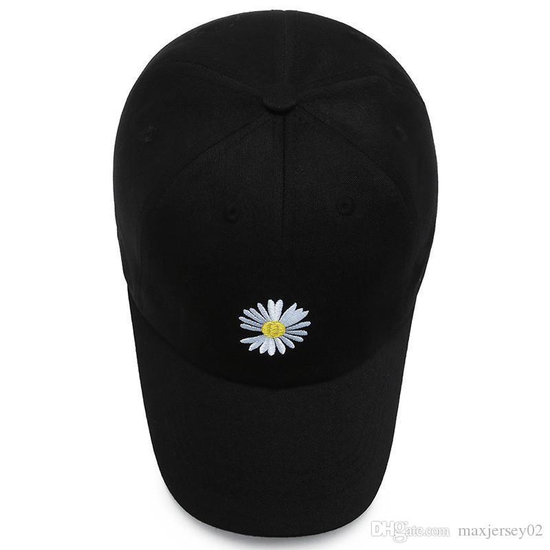 Schatten Gänseblümchen-Baseballmütze Hut für Männer Frauen Schein Gebogene Sonnenblende Baseballmütze Hut Druck Brief Mode Einstellbare Kappen Schwarz Weiß