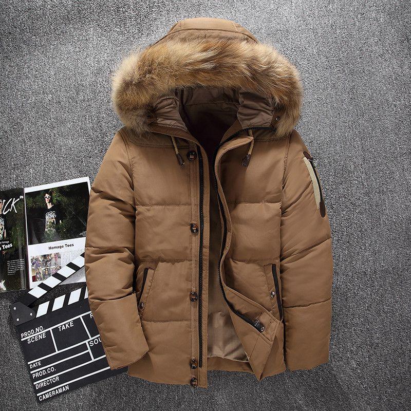 Canada denso caldo 90% bianco anatra con cappuccio in pelliccia naturale con cappuccio uomo giacca uomo impermeabile uomo down cappotto