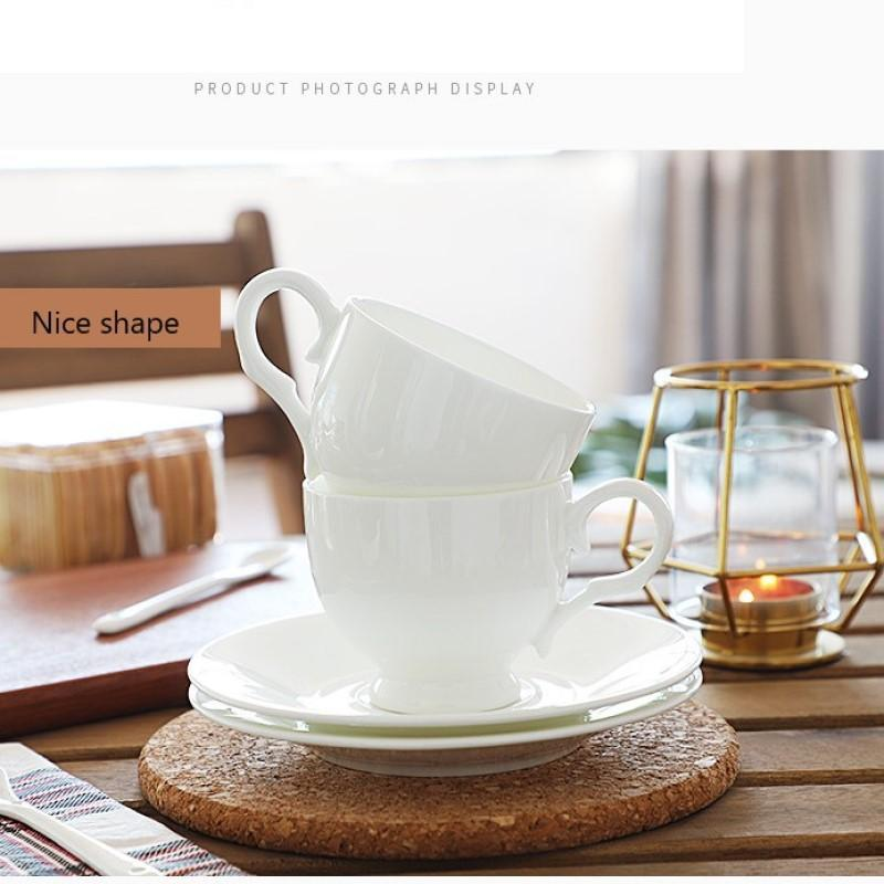 Cups & Saucers White Porcelain Coffee Cup Set Drinkware Afternoon Tea Mocha Mugs With Trays Gift Home Shop