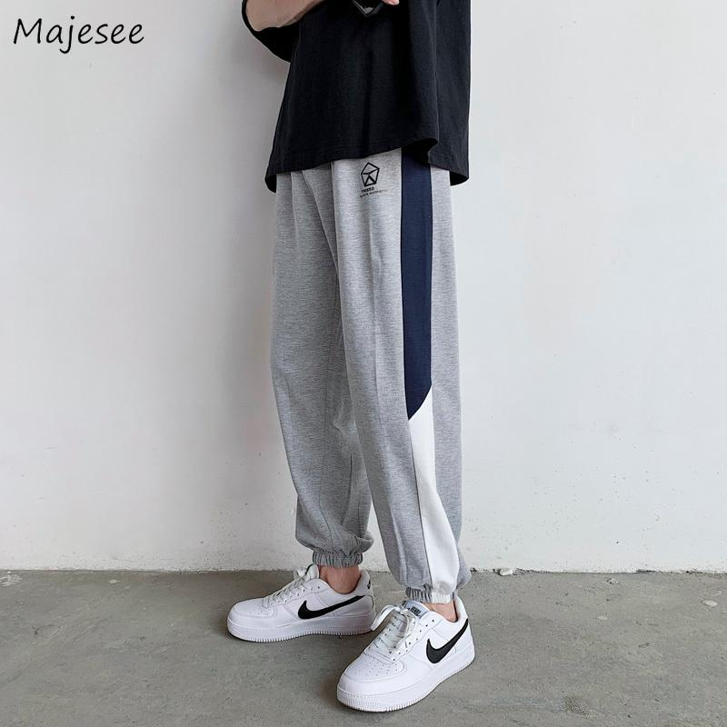 남성 캐주얼 바지 패치 워크 느슨한 플러스 사이즈 3XL 슬림 높은 탄성 허리 All-Match 학생 Streetwear 한국 패션 일일 트랙 남성용