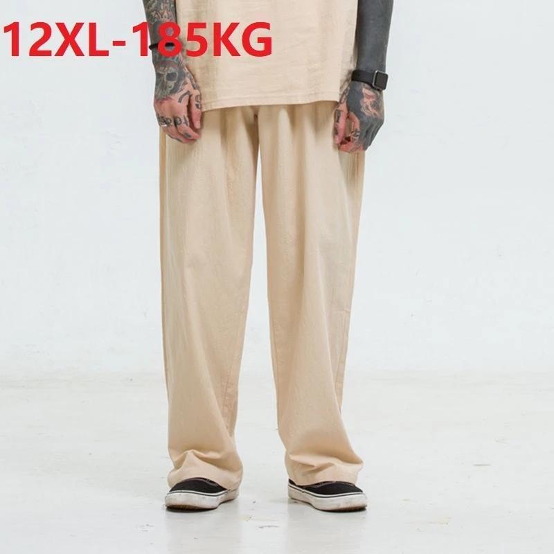 Spring Summer Men Suele Fondos de sueño Desgaste Pantalones sueltos Vintage Plus Tamaño 12XL 8XL 10XL Transpirable HOME RECTO 78 80 Hombres