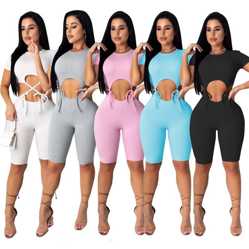 Damen Jumpsuits Strampler Womens Sexy Overall Sommer Solide Farbe Ausschnitt Taille Kurzarm Bodycon Playsuit Club Party Bodysuit Ein Stück Strampler Insgesamt PDWL