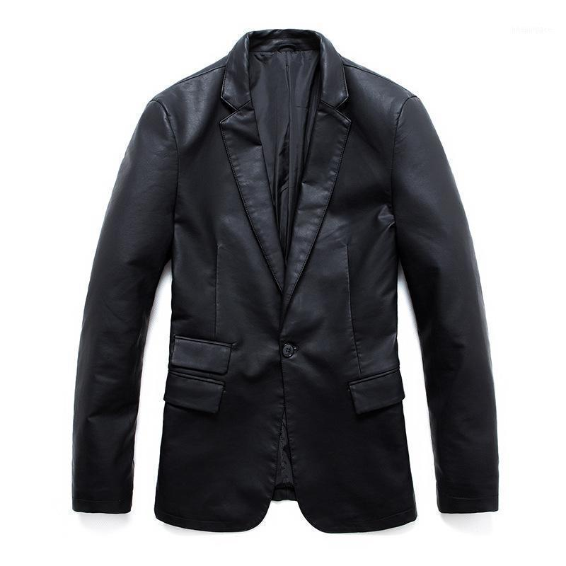 Erkek Faux Kürk Büyük Boy Tek Düğme Blazer Ceket Erkekler Yakışıklı Motosiklet Deri Ceket Chaqueta Cuero Hombre1 Mük