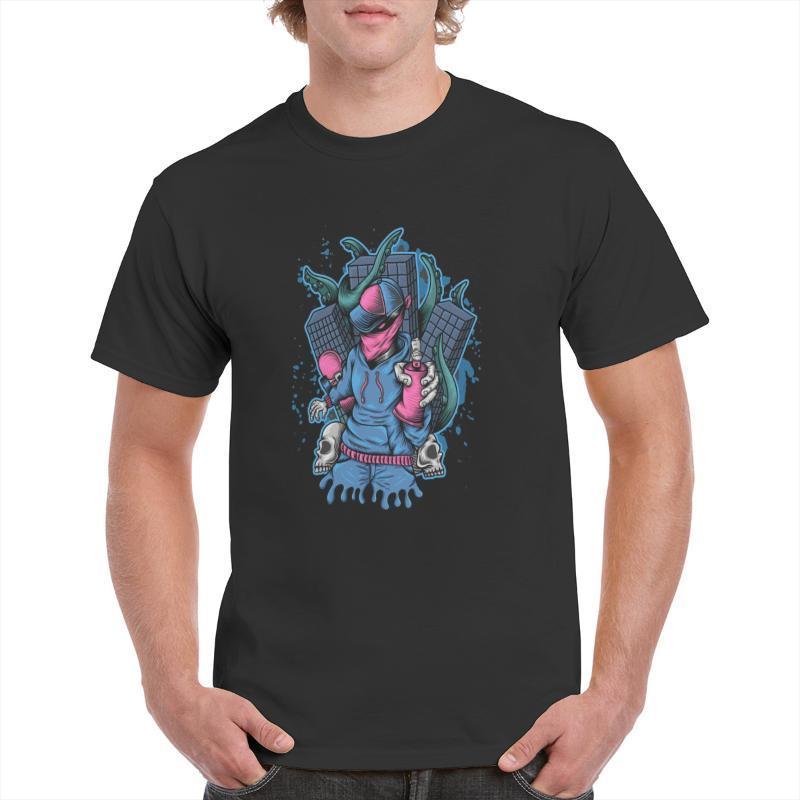 Tshirts 남자 스프레이 몬스터 Kraken 공격 티셔츠 남성 코튼 짧은 소매 티셔츠 여름 O 넥 캐주얼 티셔츠 탑스 의류 남성용 티셔츠