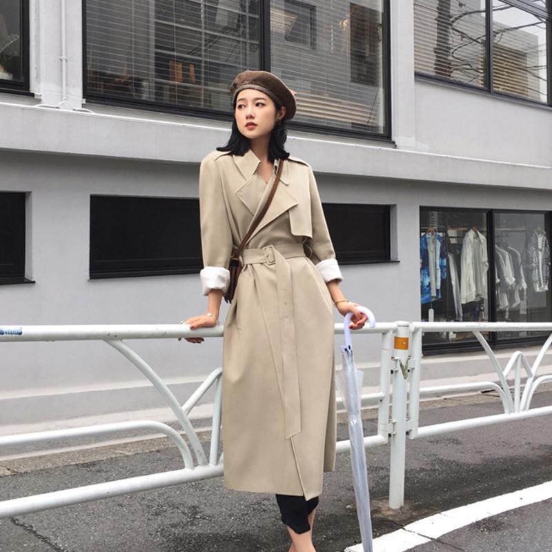 우아한 긴 트렌치 코트 여성 영국 고품질 봄과 가을 재킷 블랙 벨트 카사 코미노 여성 의류 EF50FY 여성용 코트