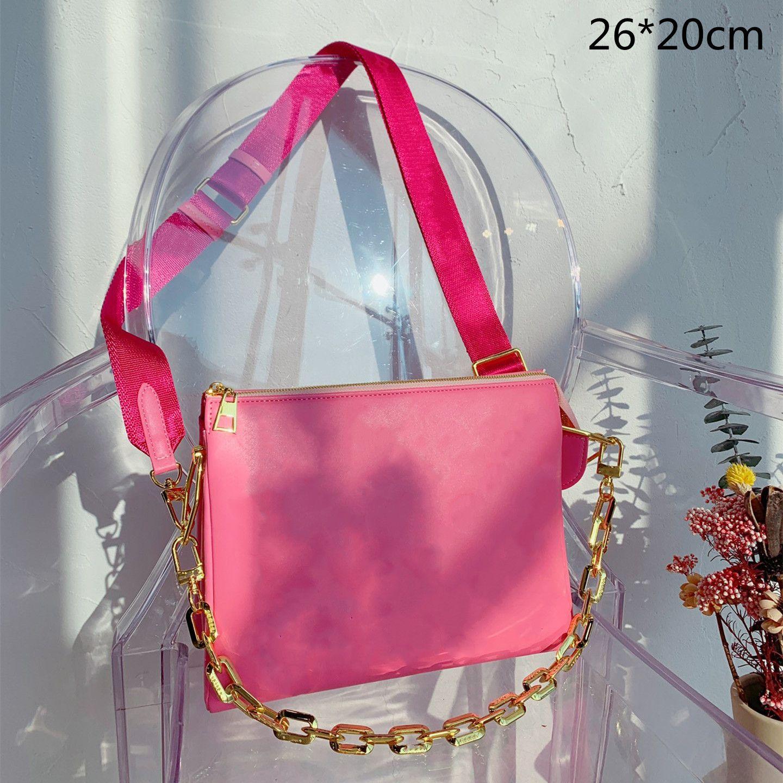 2021 المرأة الفاخرة سميكة سلسلة أكياس مصمم حقيبة crossbody الكتف حقائب صغيرة القابض المحافظ مع رسائل الزهور المطبوعة L21071501