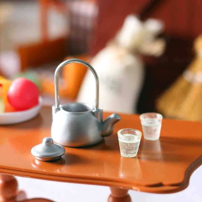 1 مجموعة أطفال نتظاهر لعبة مصغرة دمية منزل الأثاث دمية غلاية وعاء مصغرة مطبخ غلاية ماء كوب مجموعة