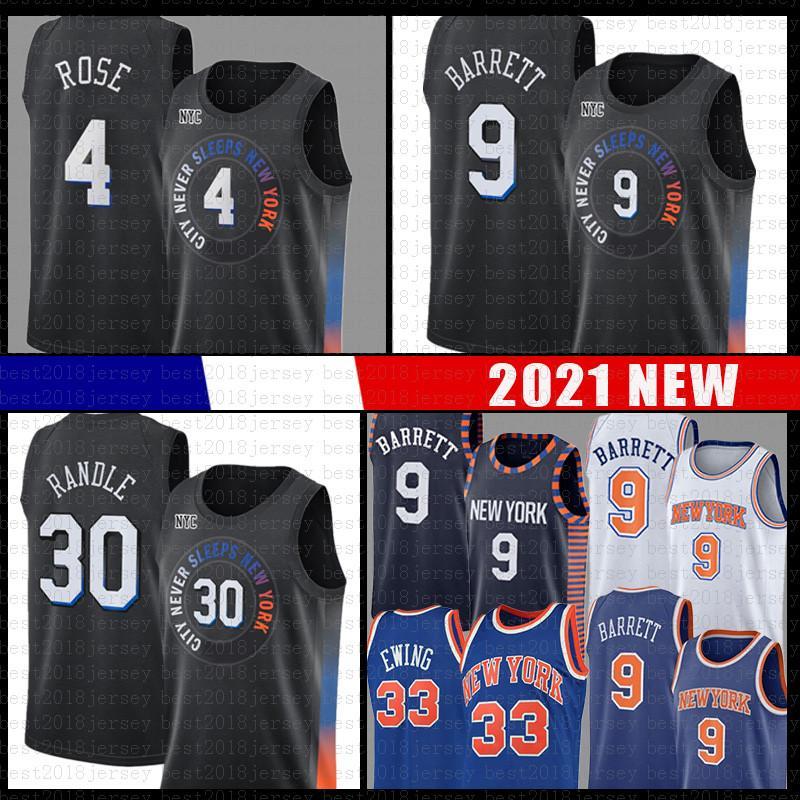 New York Knicks Julius 30 Randle RJ 9 Barrett Derrick 4 Rose Black Basketball Jersey Patrick 33 Ewing Men's 2021 NEW City Jerseys