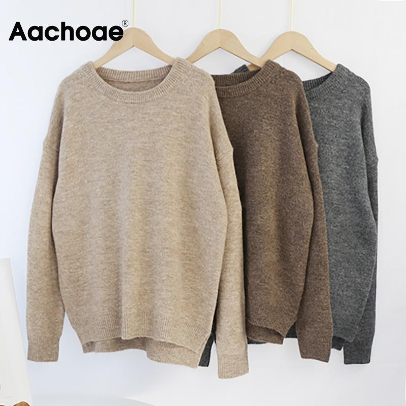 AACHOAE O COU COUCH PUBLERE Pull Sweater Femmes Batwing à manches longues Pulls en laine douce en vrac Sauniers tricotés Tops Casual Tops Pullover1