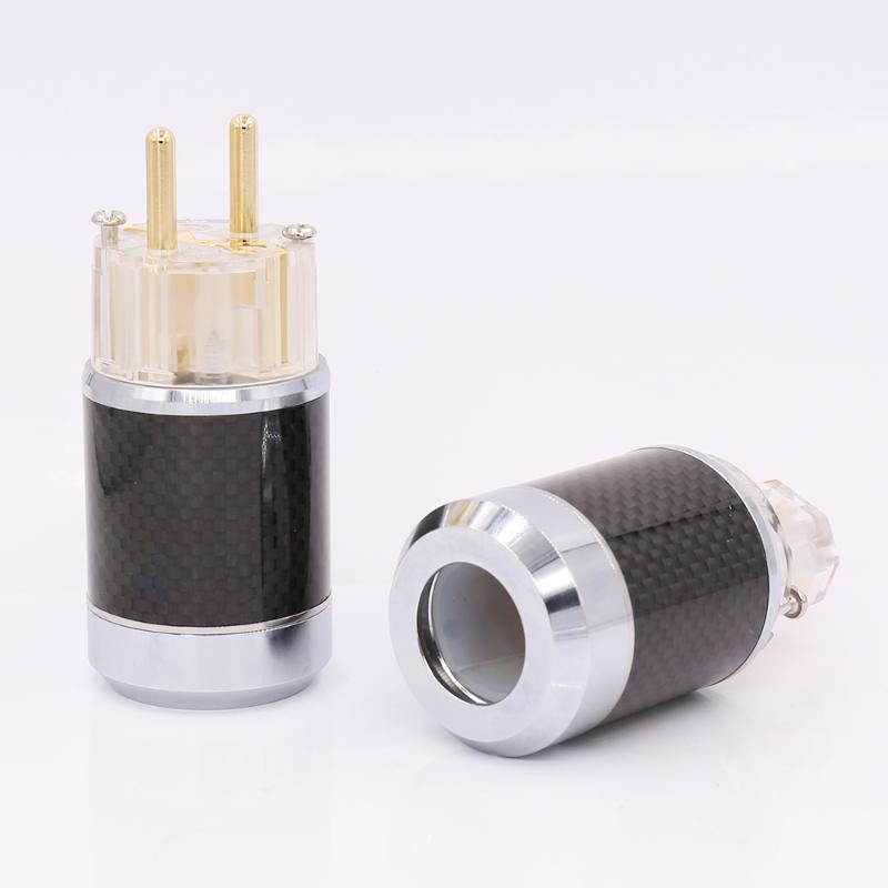 스마트 파워 플러그 쌍 탄소 섬유 골드 도금 EU SCHUKO 남성 플러그 IEC 암 커넥터 DIY 전원 케이블