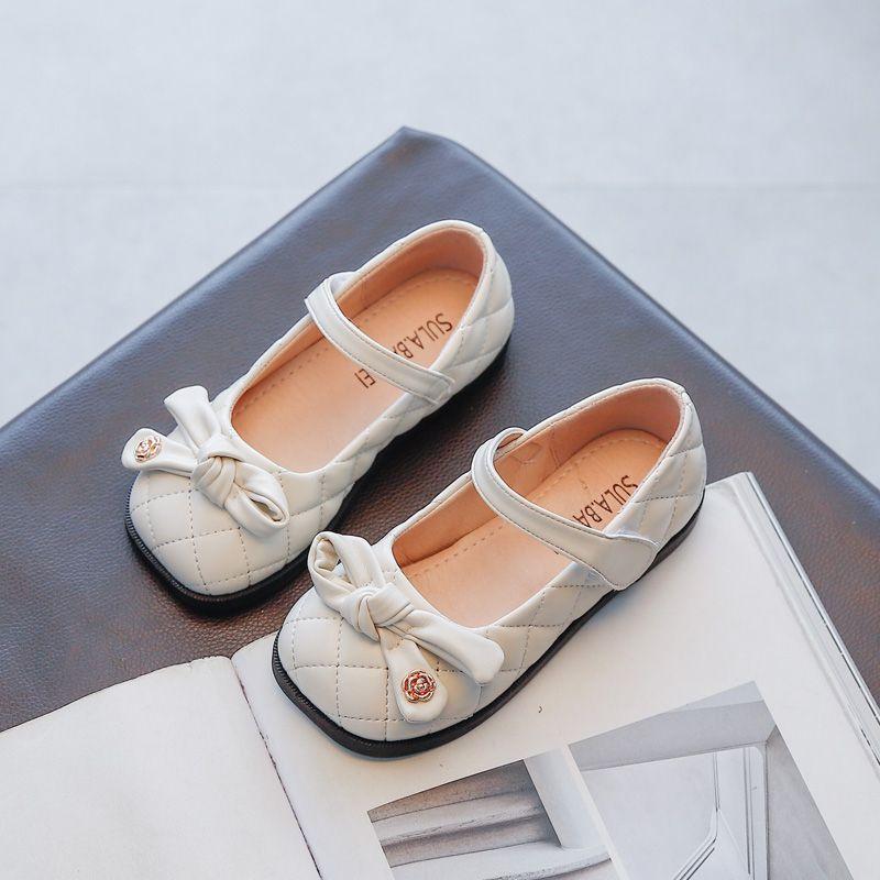 Zapatos de niñas de otoño princesa niños zapato plano PU cuero niños zapatos casuales arco fiesta show zapatos para niñas