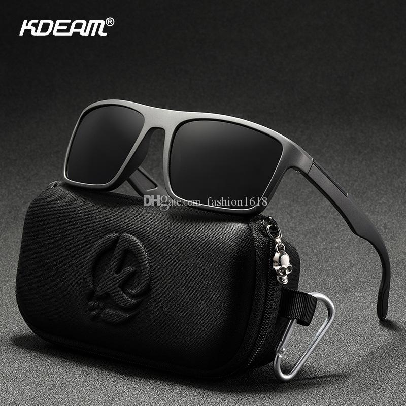KDEAM Rectangular Ultra Light TR90 Gafas de sol Hombres Polarizadas TAC 1.1mm Espesor Lente de espesor Gafas de sol Mujeres Deportes Cat.3