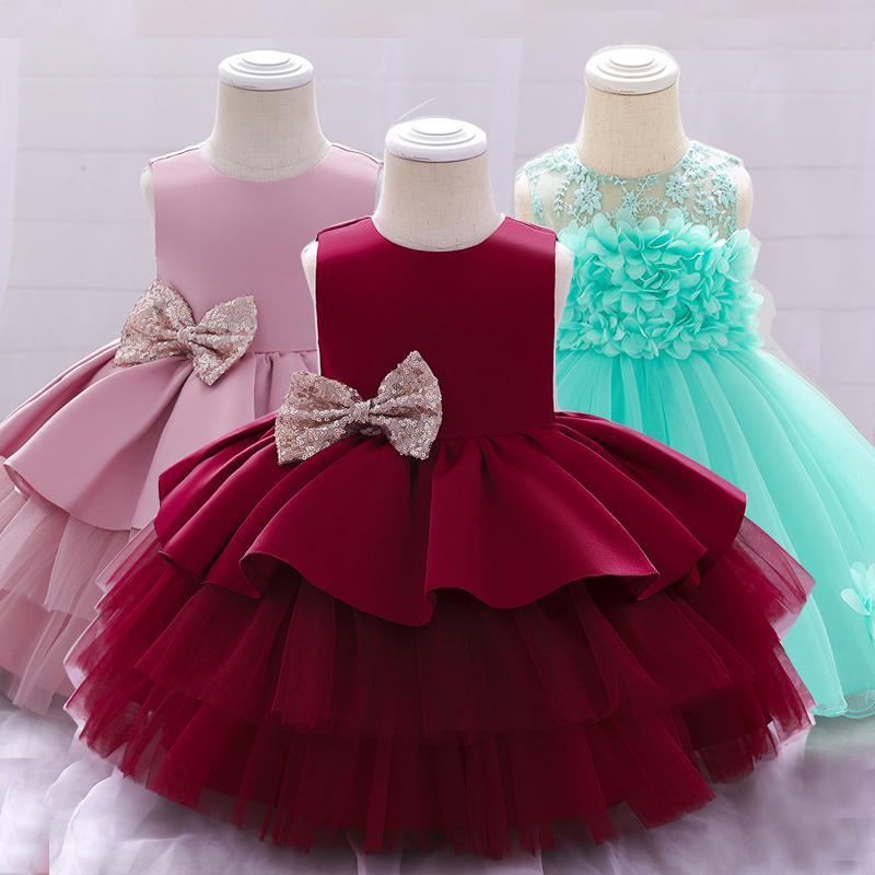 Baby Christmas Outfit Girl Flower Princess Vestido de novia Lentejuelas Lentejuelas Fiesta de Cumpleaños Nacidos Niños Dressess Vestidos de Chica