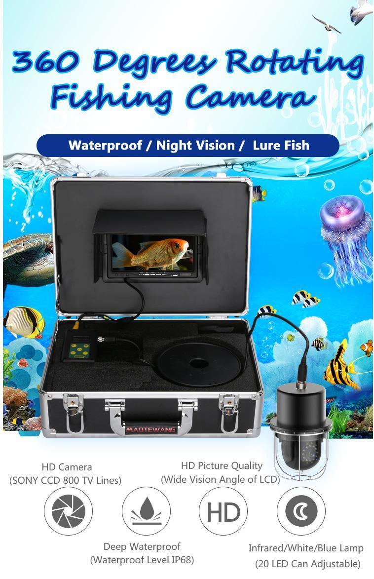 كاميرات 9 بوصة 20 متر / 50 متر / 100 متر تحت الماء الصيد كاميرا فيديو مكتشف 20 المصابيح 360 درجة تدوير قبة البانورامية المشاهدة