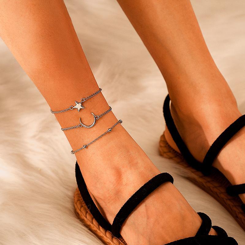 Böhmische Sterne Moon Perle für Frauen Vintage Multilayer-Fußkettchen am Bein Strand Fußbodenschmuck