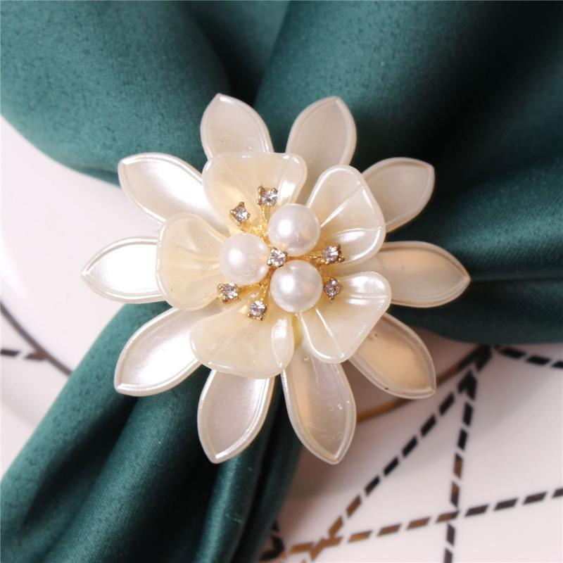 10 teile / Perle Blume Serviette Ring Weiße Tisch Top Dekoration Für Familienurlaub Party El Hochzeit Bankett Ringe