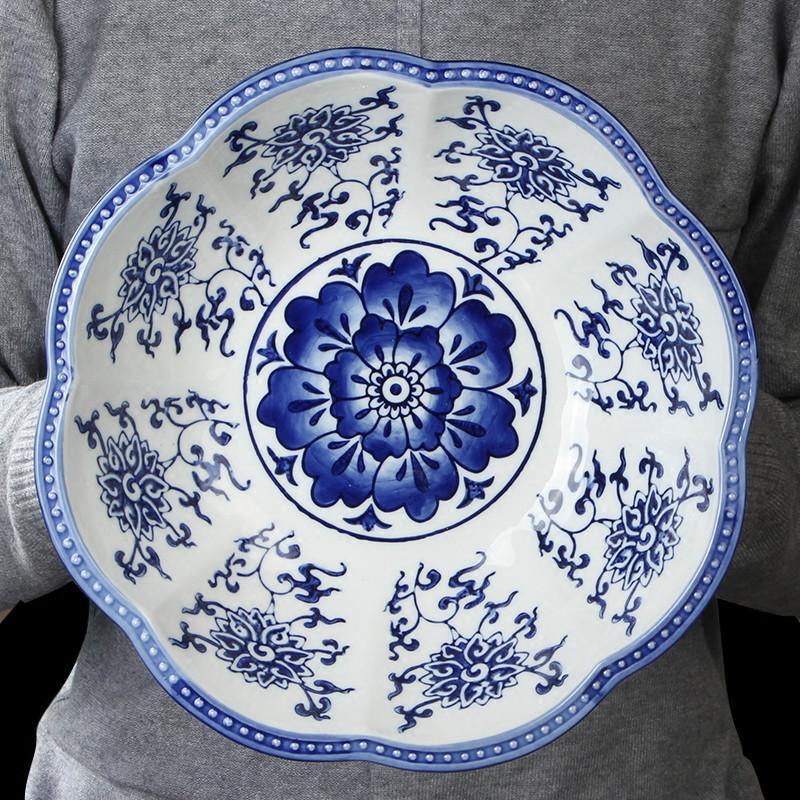 Nouveau Chinois Simple Simple Céramique Bleu et Blanc Assiette de fruits de Candy Plaque de bonbons Rétro Ameublement Table de thé Creative Chinois Style