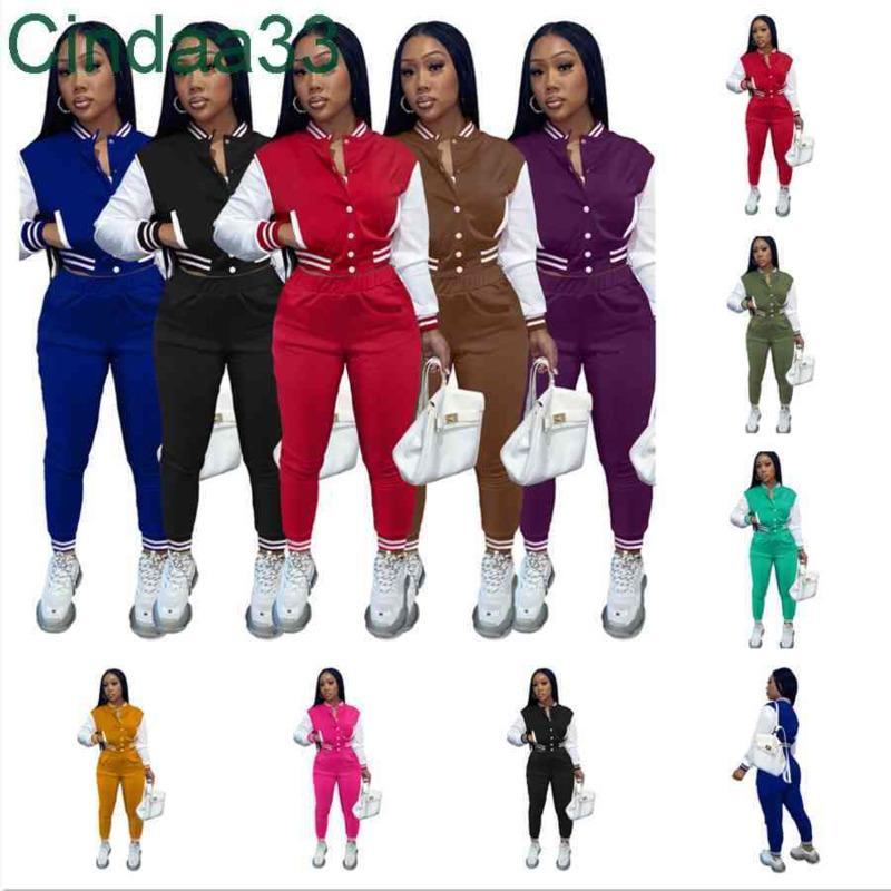 Women Tracksuits Two Piece Set Designer Fall Baseball Uniform Jackets Sweatpants Sweatsuits Joggers Pants Varsity Suits 9 Colours