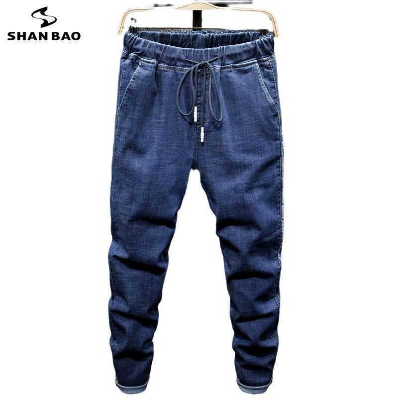 Shan Bao Brand de la marque ÉLASTIQUE Cordon de cordon Stretch Jeans Style Classic Plus Taille Hurlan Lâche Denim Jeans 210531
