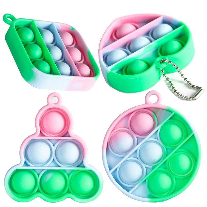 Keychain Finger Toys Pop It Fidget Toy Jewelry poo its Key Chain Push Bubble Board Game Sensory simple dimple Stress Reliever