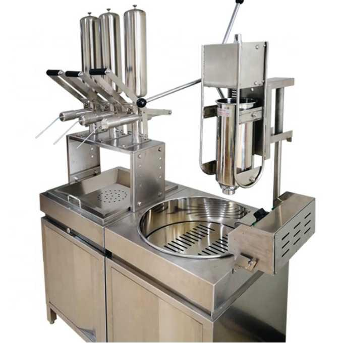 Fabricante de máquinas de llenado de tanques de churros / relleno de profundidad con el gabinete ancho grande de la freidora grande