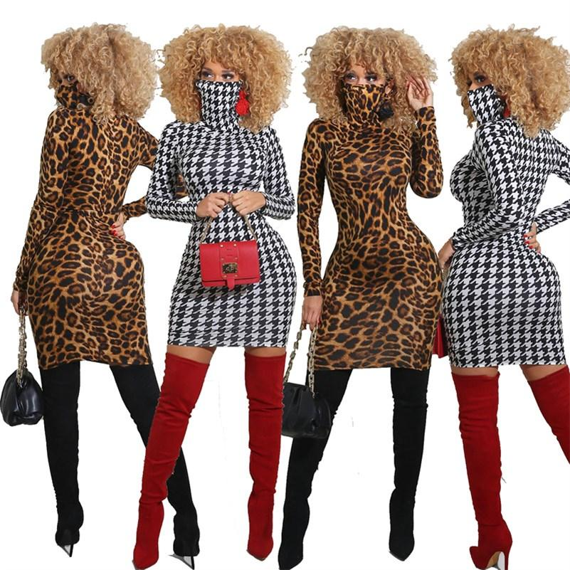 Women mini casual dresses fall winter clothing sexy club elegant stylish without mask print leopard plaid long cap sleeve sheath column evening wear beachwear 01594