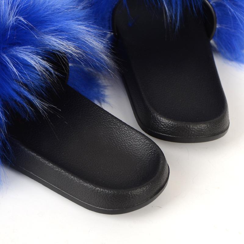 Mulher imitação raposa pele guaxinga peles chinelos artificiais sandálias de pele chinelos sapatos de praia