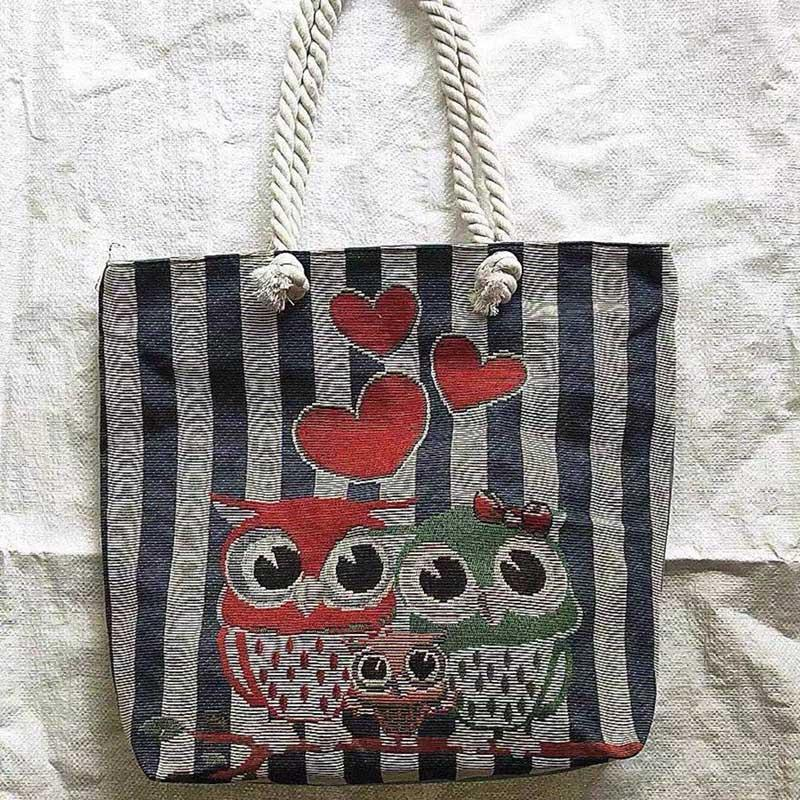 Thai style heavy rope single shoulder women's bag double side linen bagss elephant Tote Bags embroidery bagsss P059