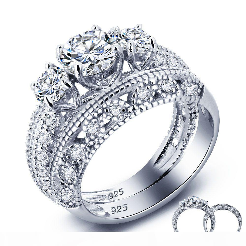925 Sterling Silver Ring Ring Korean lady zircon lovers valentine gift jewelry diamond ring high-end simulation